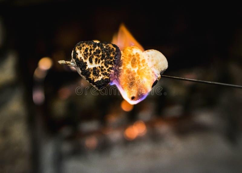 Flammande och svärtat, två hjärta formade marshmallower royaltyfri foto