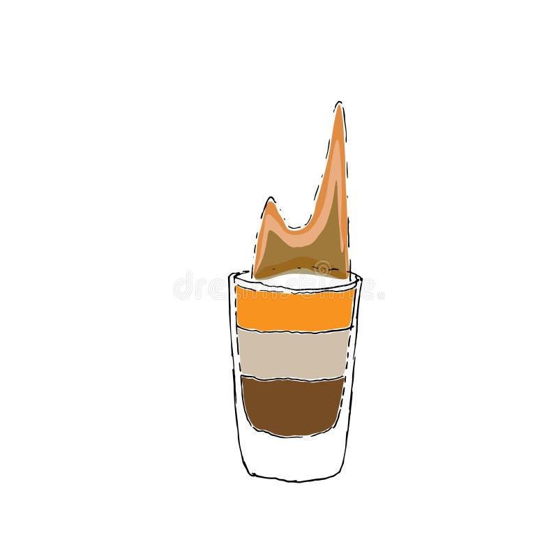 Flammande skottfärg Digital som för coctail B-52 drar vektorillustrationen Exponeringsglas på vit isolerad bakgrund royaltyfri illustrationer