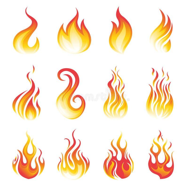 Flammavektoruppsättning vektor illustrationer