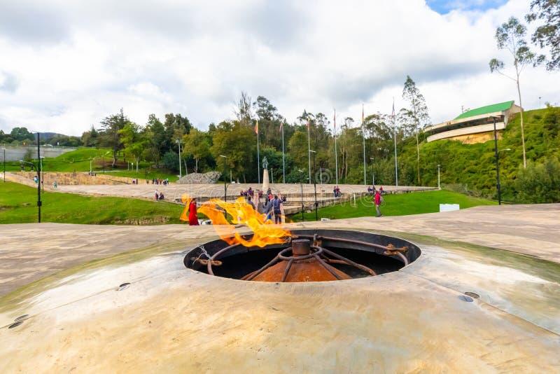 Flamme éternelle de Tunja Colombie à la mémoire de la bataille de Boyaca photo libre de droits