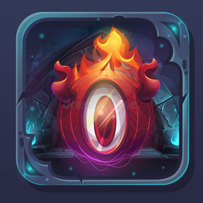 Flamme d'eldiablo d'icône de GUI de bataille de monstre illustration stock