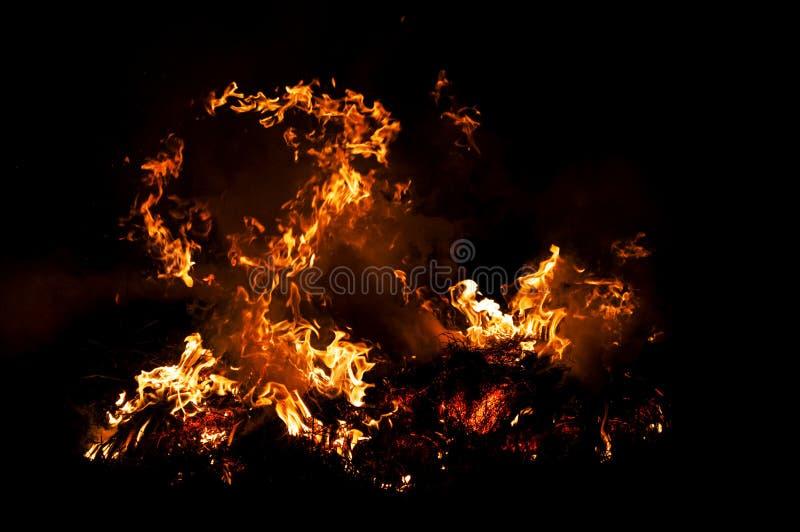 Flamme d'incendie sur le noir image stock