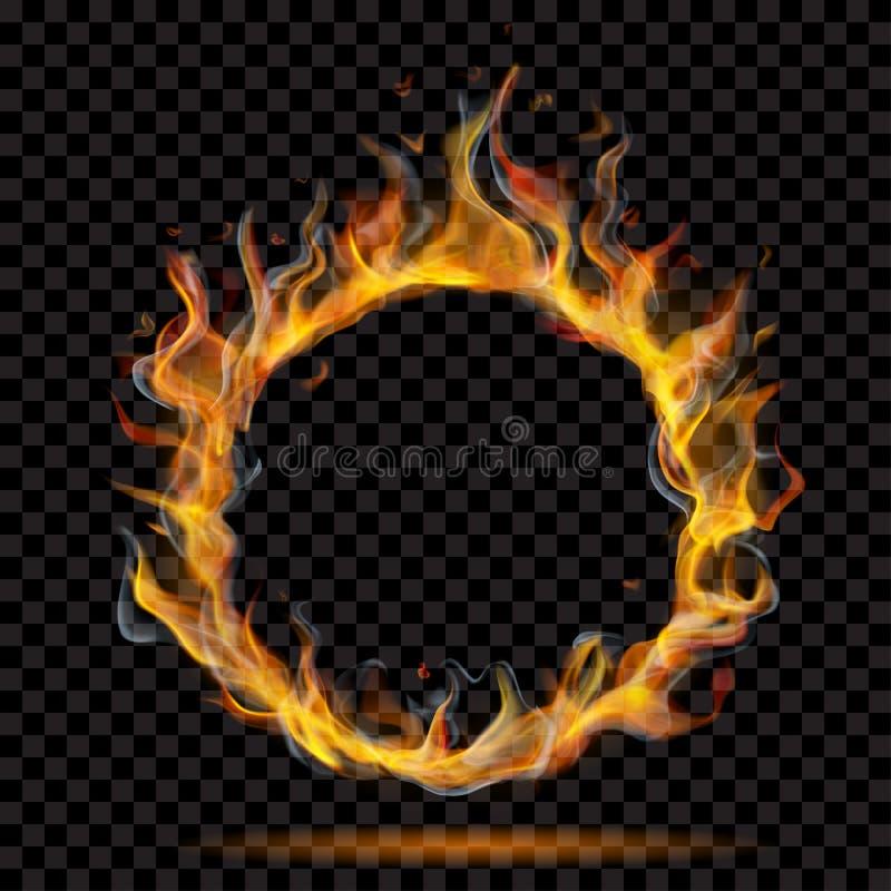 Flamme de cercle de feu avec de la fumée illustration libre de droits