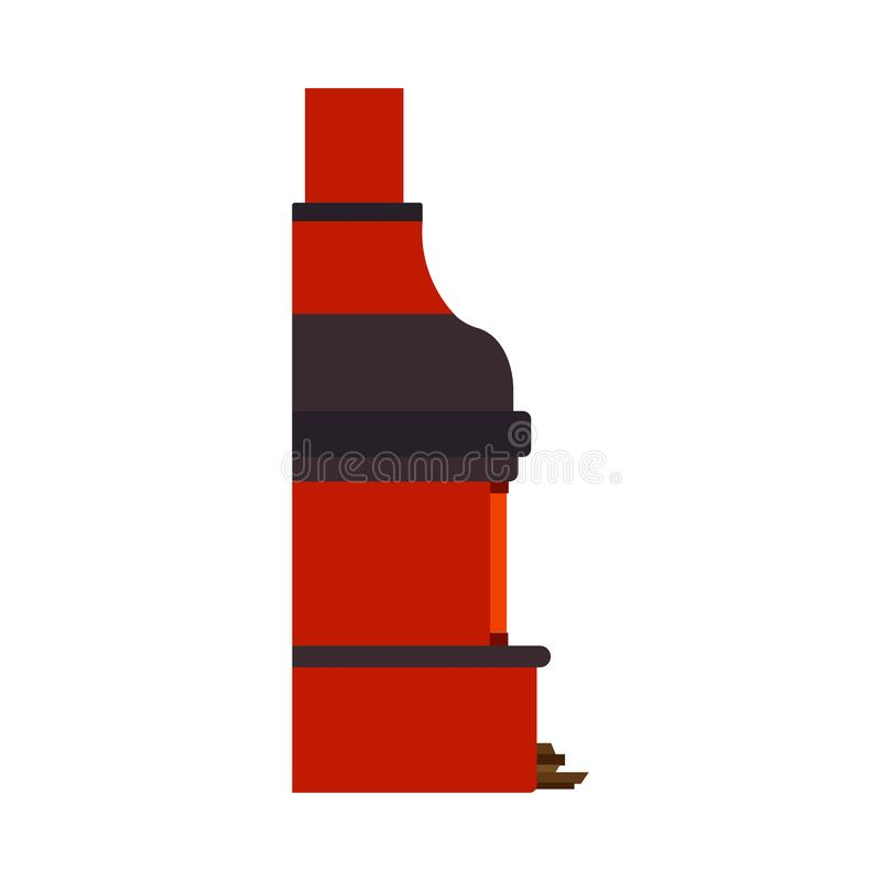 Flamme de la chaleur d'icône de vecteur de vue de côté de cheminée traditionnelle Meubles classiques de cru d'?l?ment de No?l de  illustration libre de droits