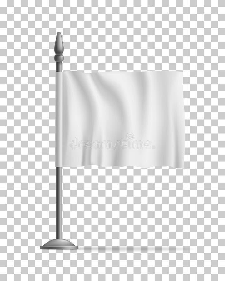 Flamme de ondulation blanche de drapeau, calibre, d'isolement illustration libre de droits
