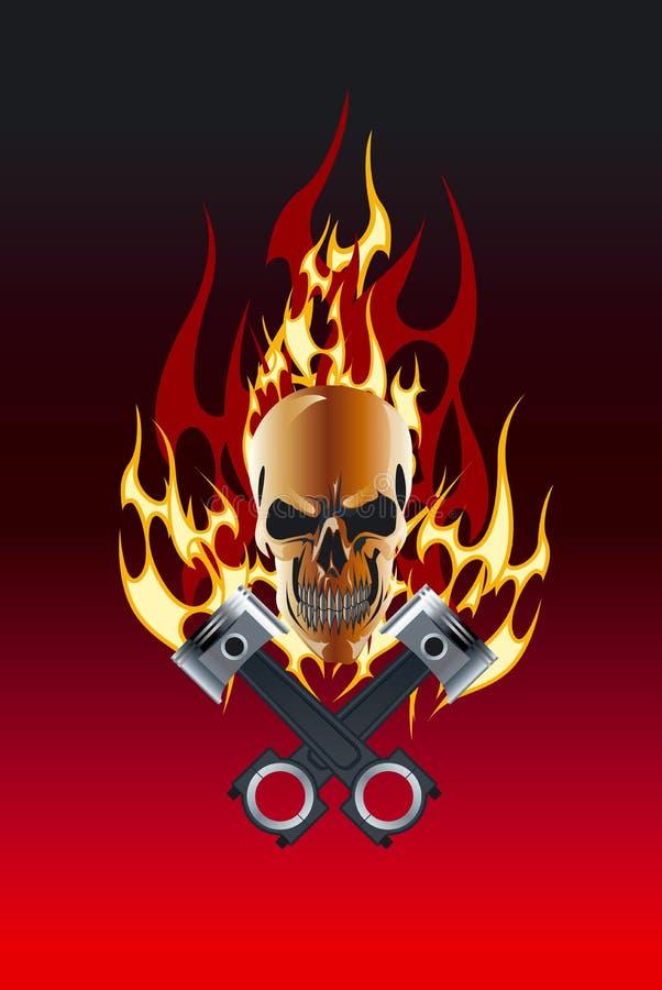 Flamme de piston de crâne photographie stock