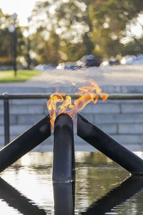Flamme de souvenir et piscine de réflexion image libre de droits