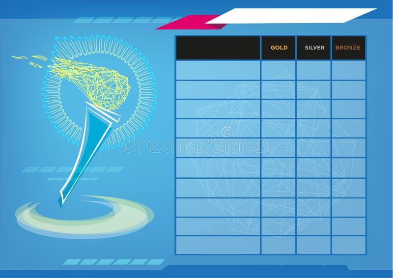 Flamme de Sportmanship dans un tableau indicateur avec des éléments Clipart (images graphiques) éditorial images stock