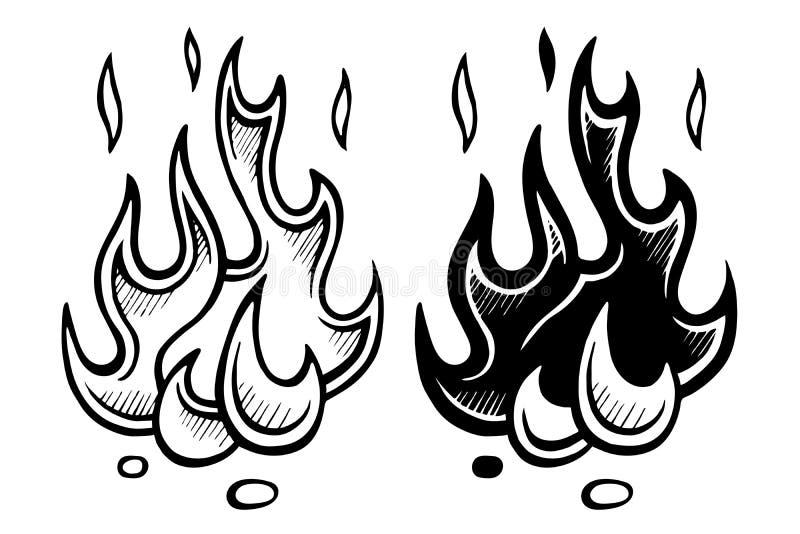 Flamme der stilisierten Skizze des Feuers vektor abbildung