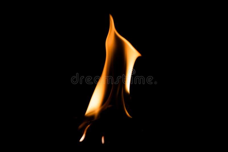 Flamme du feu brûlant le fond d'isolement foncé photos stock