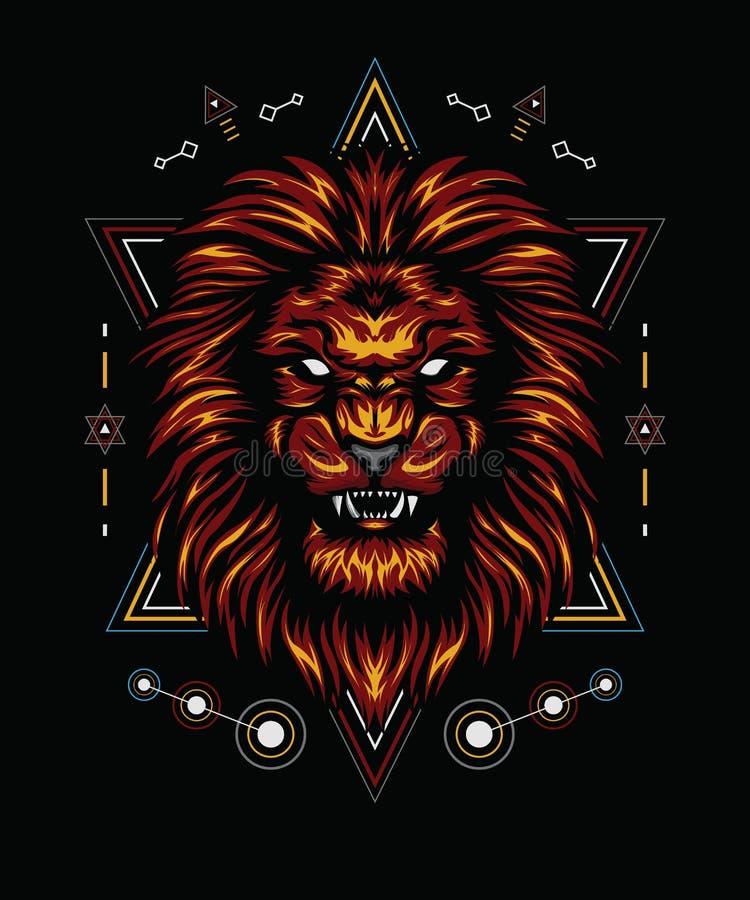 Flamme du lion avec la géométrie sacrée photographie stock libre de droits