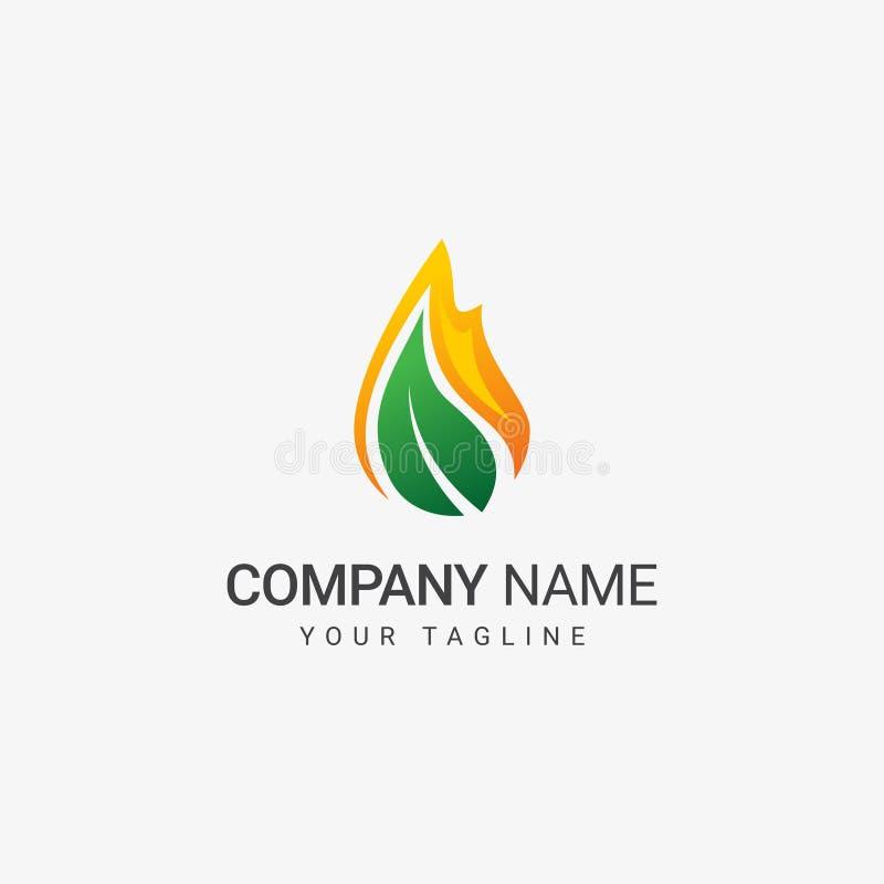 Flamme et feuille Logo Template illustration de vecteur