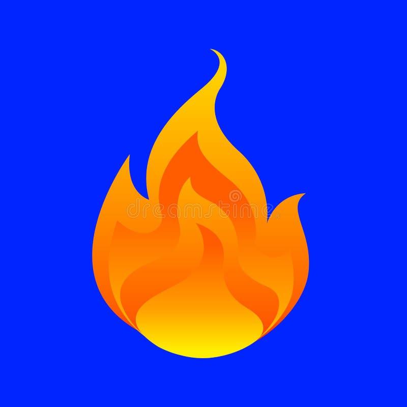 Flamme, Feuerkugel lokalisiert auf blauem Hintergrund, Feuerbrandsymbol, Flammenikone, Flammenlogo, Feuerflammenillustration, Iko lizenzfreie abbildung