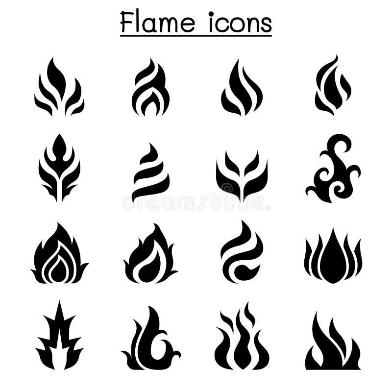 Flamme, le feu, ensemble d'icône de brûlure illustration libre de droits