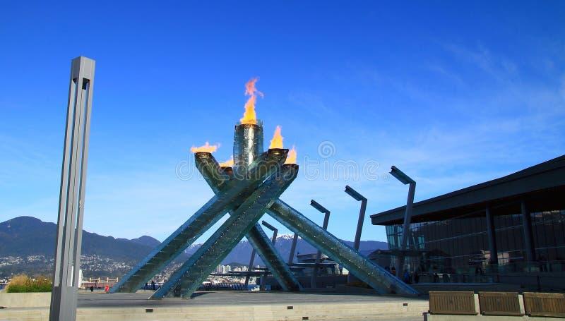 Flamme olympique Vancouver 2010 image libre de droits