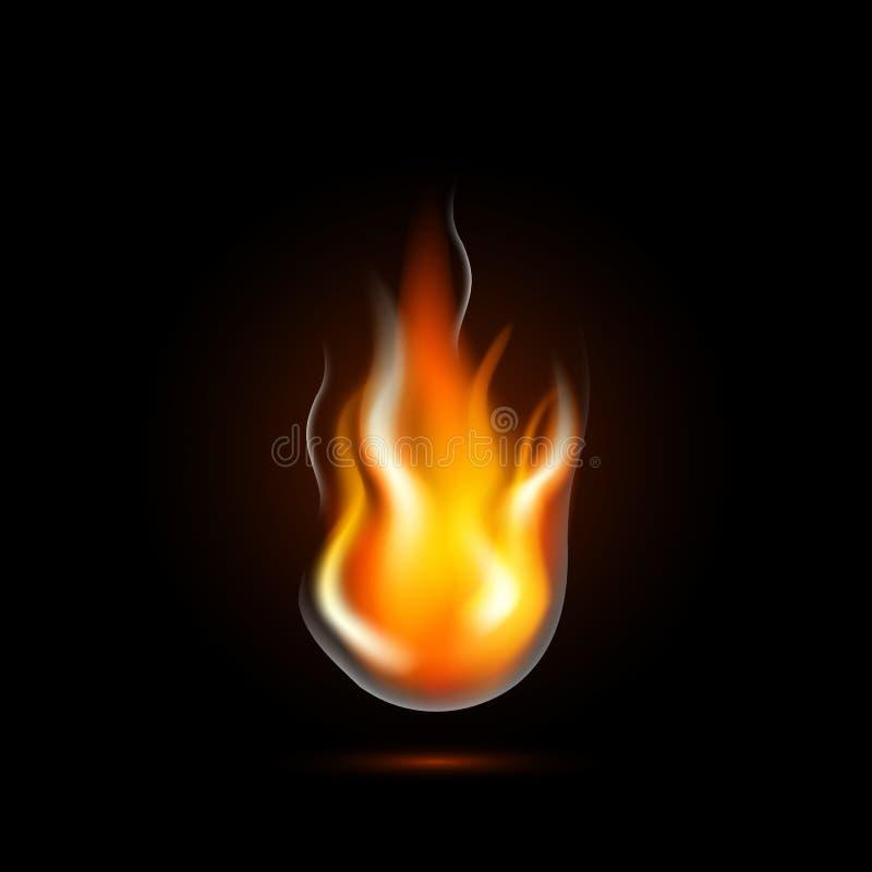 Flamme réaliste du feu d'isolement sur le noir illustration libre de droits