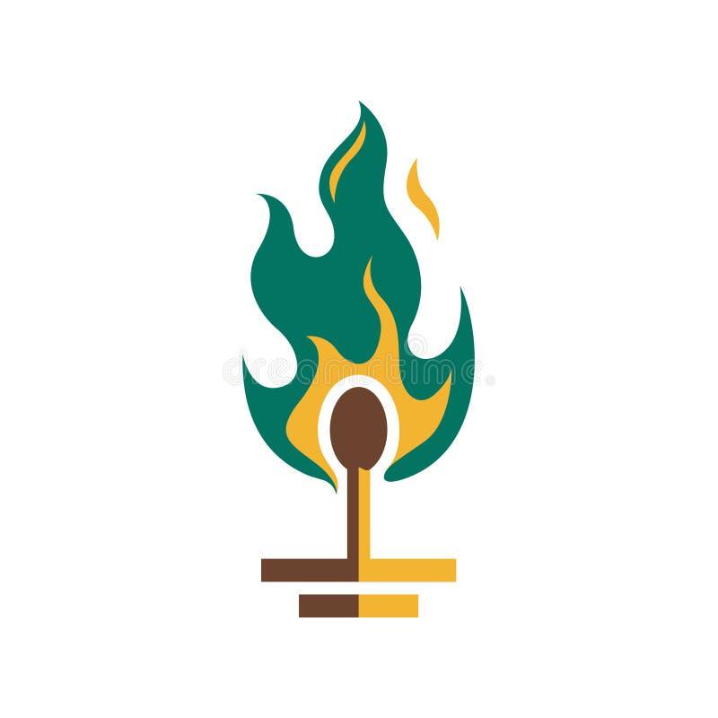 Flamme verte Logo Illustration du feu de match de sécurité illustration libre de droits