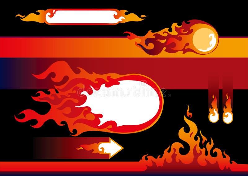 Flammeauslegungelemente lizenzfreie abbildung