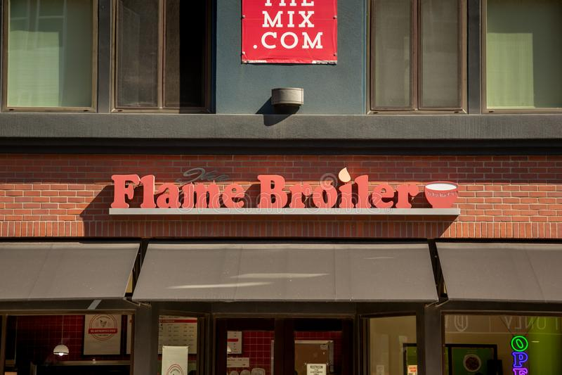 Flammen-Bratrostrestaurantzeichen lizenzfreies stockbild