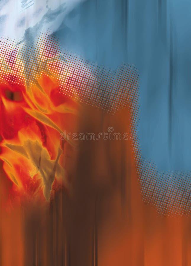 Flammen der Orange, der Punkte und des blauen digitalen lizenzfreie abbildung