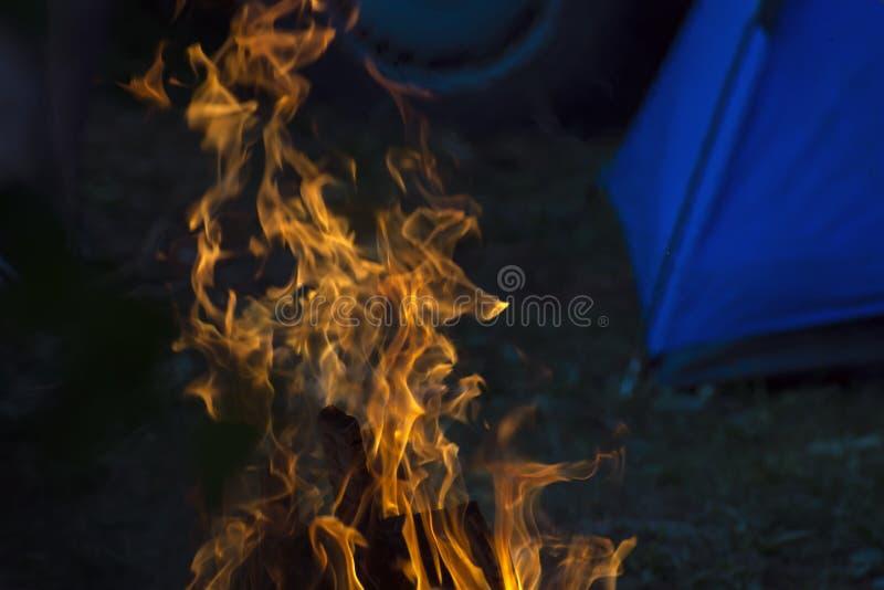 Flammen eines brennenden Feuers am Abend stockbild
