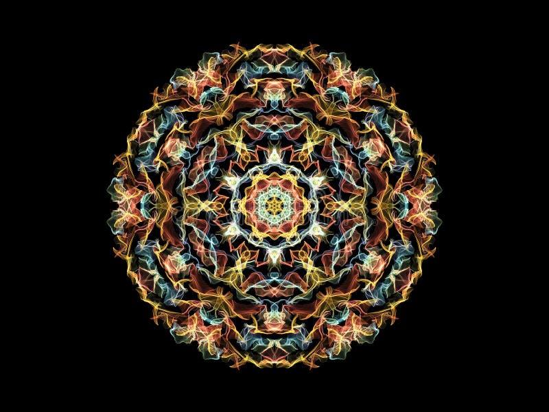 Flammen-Mandalablume der hellen Zusammenfassung multi farbige, dekoratives rundes Muster auf schwarzem Hintergrund lizenzfreie abbildung