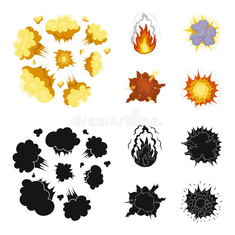 Flammen Sie, die Funken, Wasserstofffragmente, atomar oder gasen Sie Explosion, Gewitter, Solarexplosion Explosionen stellten Sam stock abbildung
