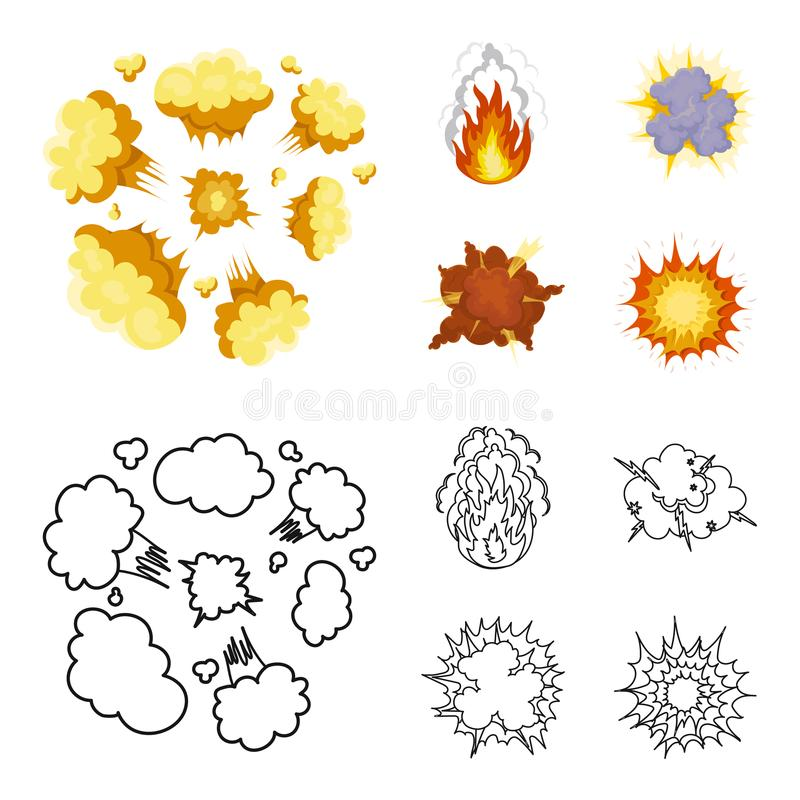Flammen Sie, die Funken, Wasserstofffragmente, atomar oder gasen Sie Explosion, Gewitter, Solarexplosion Explosionen stellten Sam vektor abbildung