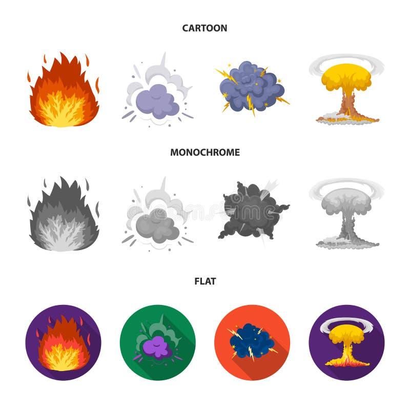 Flammen Sie, Funken-, Wasserstofffragment-, Atom- oder Gasexplosion Explosionen stellten Sammlungsikonen in der Karikatur ein, fl stock abbildung