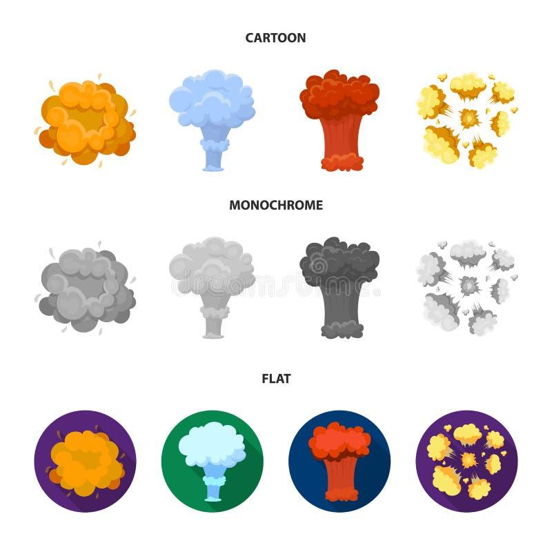Flammen Sie, Funken-, Wasserstofffragment-, Atom- oder Gasexplosion Explosionen stellten Sammlungsikonen in der Karikatur ein, fl vektor abbildung