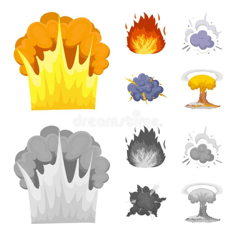 Flammen Sie, Funken-, Wasserstofffragment-, Atom- oder Gasexplosion Explosionen stellten Sammlungsikonen in der Karikatur, einfar stock abbildung