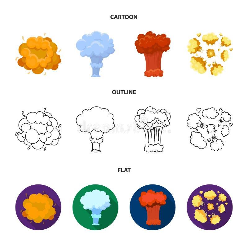 Flammen Sie, Funken-, Wasserstofffragment-, Atom- oder Gasexplosion Explosionen stellten Sammlungsikonen in der Karikatur, der En vektor abbildung