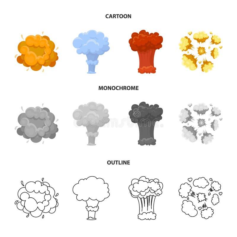 Flammen Sie, Funken-, Wasserstofffragment-, Atom- oder Gasexplosion Explosionen stellten Sammlungsikonen in der Karikatur, Entwur vektor abbildung