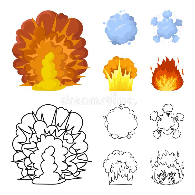 Flammen Sie, Funken-, Wasserstofffragment-, Atom- oder Gasexplosion Explosionen stellten Sammlungsikonen in der Karikatur, Entwur stock abbildung