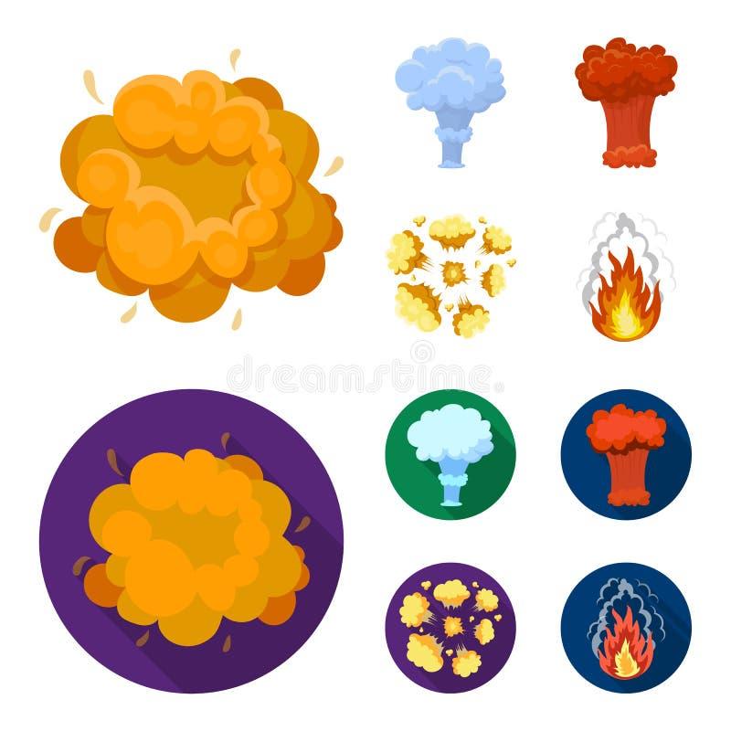Flammen Sie, Funken-, Wasserstofffragment-, Atom- oder Gasexplosion Explosionen stellten Sammlungsikonen in der Karikatur, flache vektor abbildung
