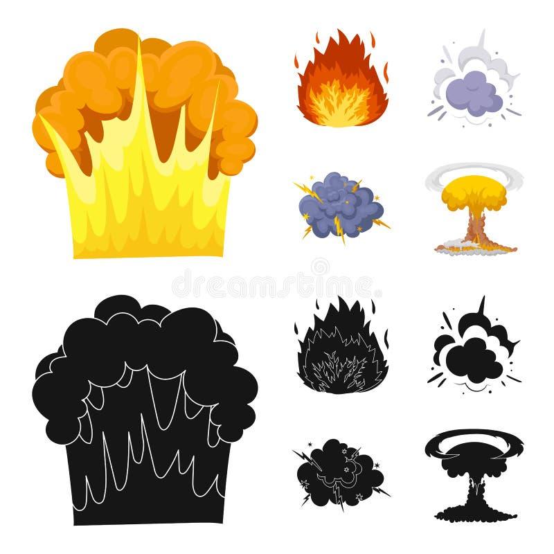 Flammen Sie, Funken-, Wasserstofffragment-, Atom- oder Gasexplosion Explosionen stellten Sammlungsikonen in der Karikatur, schwar lizenzfreie abbildung