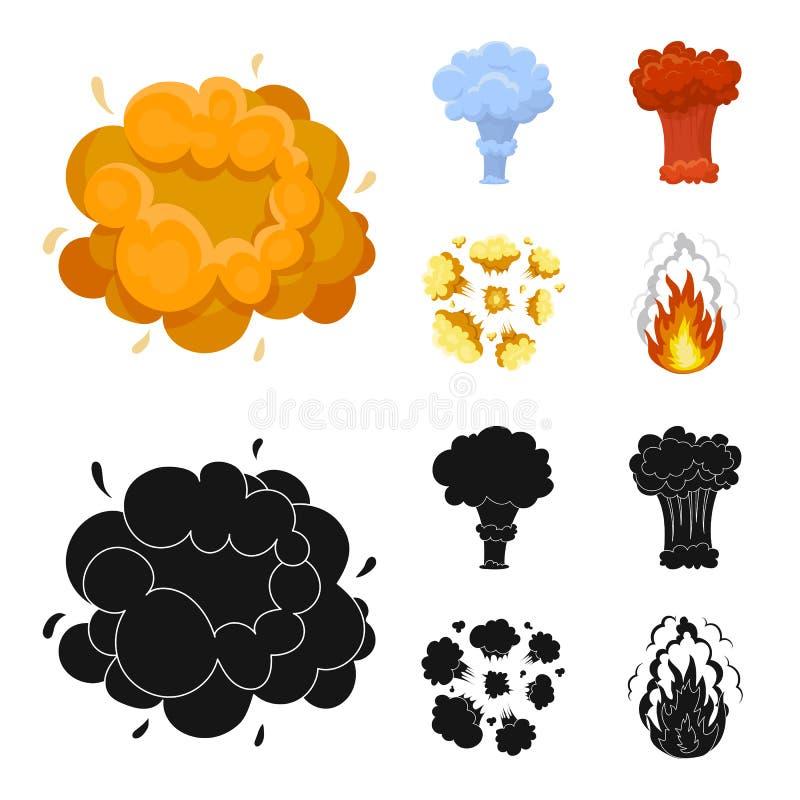 Flammen Sie, Funken-, Wasserstofffragment-, Atom- oder Gasexplosion Explosionen stellten Sammlungsikonen in der Karikatur, schwar stock abbildung