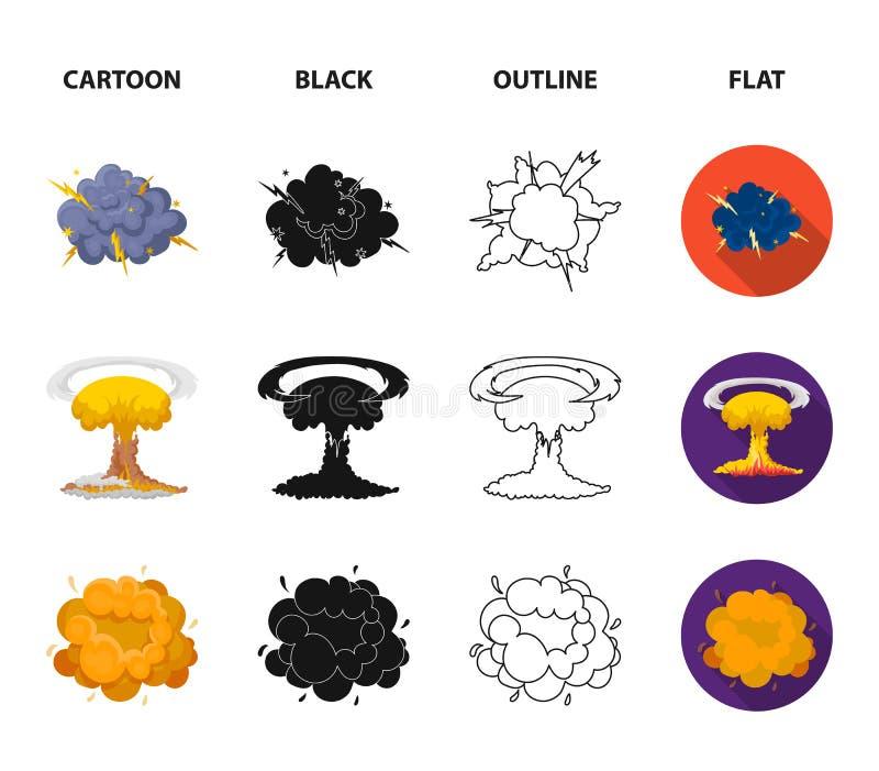 Flammen Sie, Funken-, Wasserstofffragment-, Atom- oder Gasexplosion Explosionen stellten Sammlungsikonen in der Karikatur, Schwar vektor abbildung