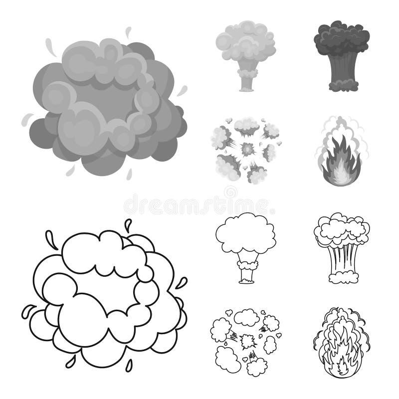 Flammen Sie, Funken-, Wasserstofffragment-, Atom- oder Gasexplosion Explosionen stellten Sammlungsikonen im Entwurf, einfarbige A stock abbildung