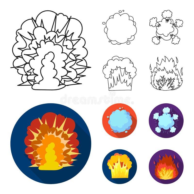 Flammen Sie, Funken-, Wasserstofffragment-, Atom- oder Gasexplosion Explosionen stellten Sammlungsikonen im Entwurf, flacher Artv stock abbildung