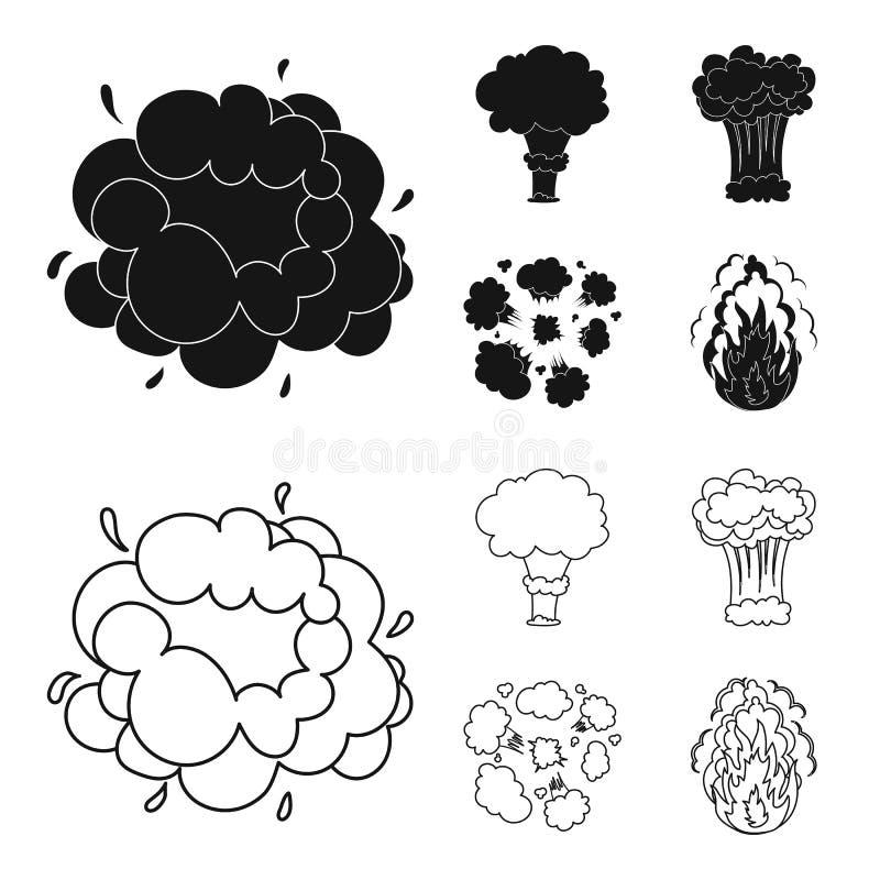 Flammen Sie, Funken-, Wasserstofffragment-, Atom- oder Gasexplosion Explosionen stellten Sammlungsikonen im Schwarzen, Entwurfsar stock abbildung