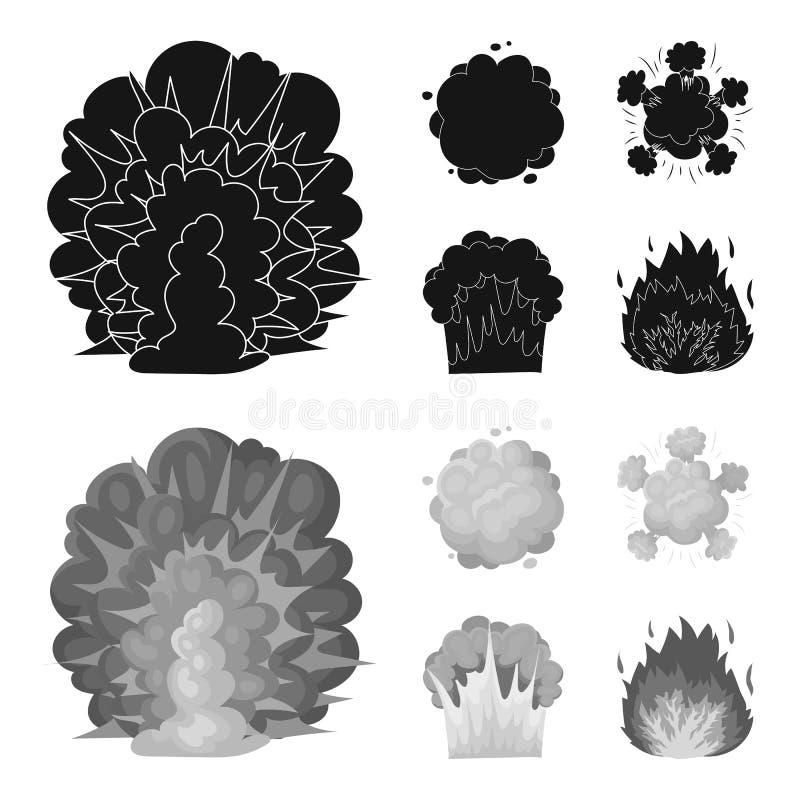 Flammen Sie, Funken-, Wasserstofffragment-, Atom- oder Gasexplosion Explosionen stellten Sammlungsikonen im Schwarzen, monochrom  vektor abbildung