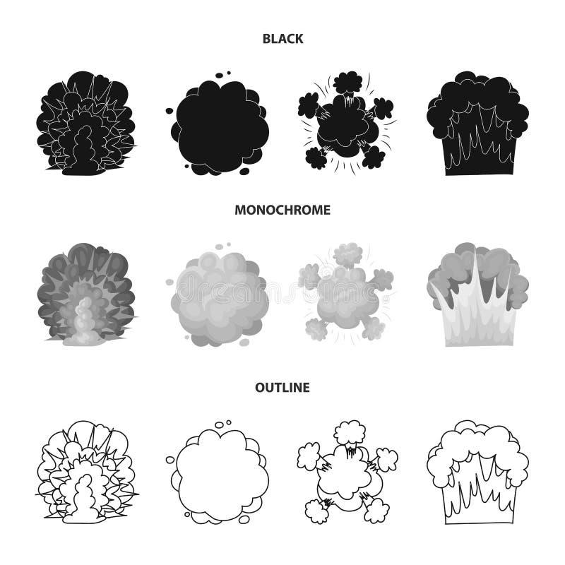 Flammen Sie, Funken-, Wasserstofffragment-, Atom- oder Gasexplosion Explosionen stellten Sammlungsikonen in Schwarzem ein, einfar stock abbildung