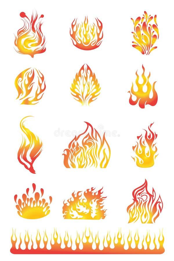 Flammen stellten 01 ein vektor abbildung