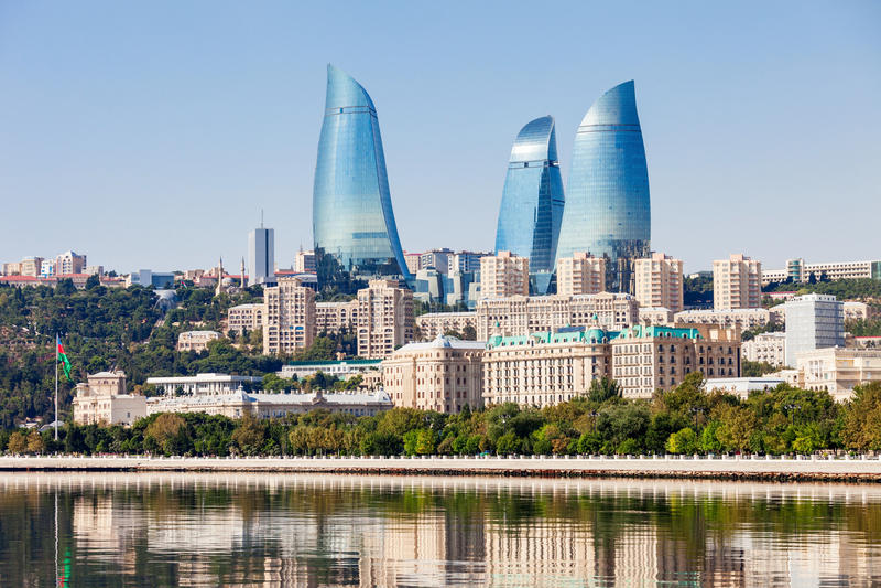 Flammen-Türme in Baku lizenzfreies stockbild