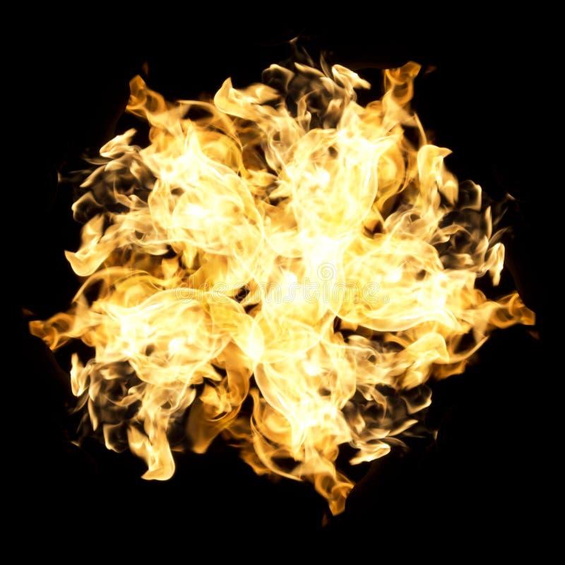 Flammes abstraites du feu sur le fond noir images libres de droits