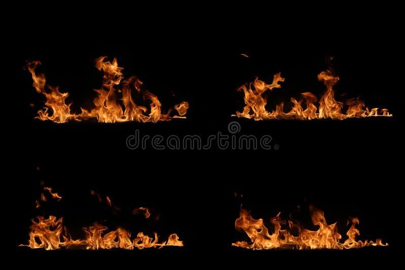 Flammes d'incendie sur le fond noir photos libres de droits