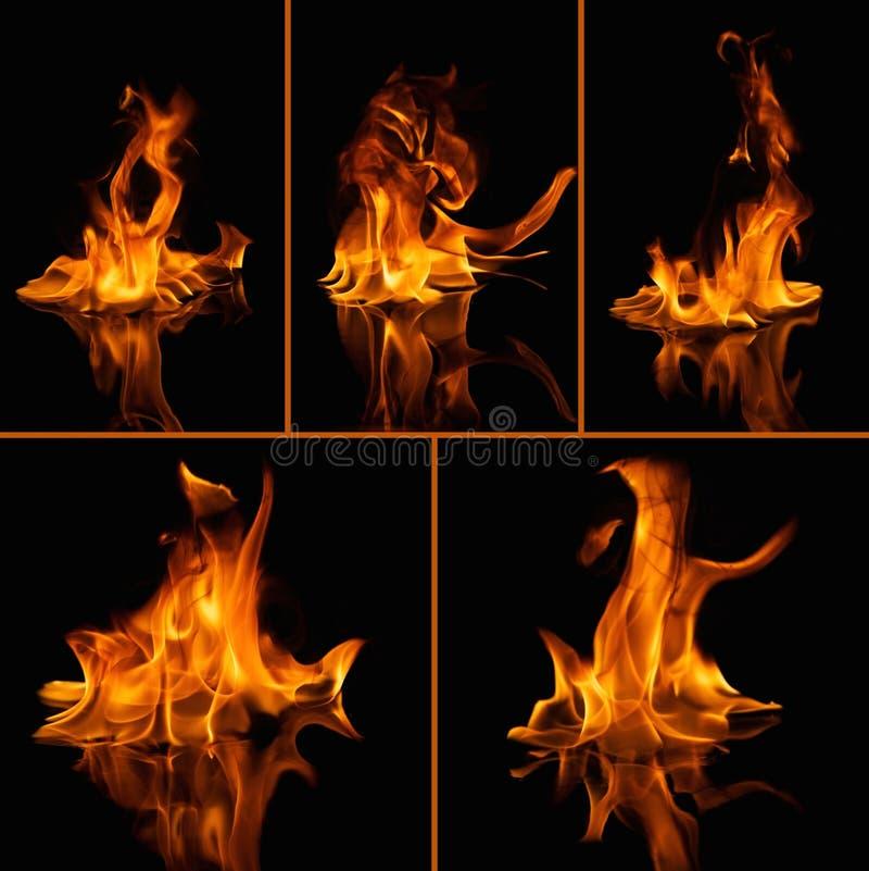 Flammes d'incendie sur le noir image stock