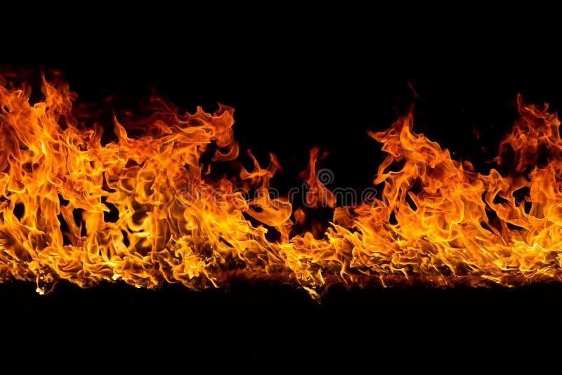 Flammes de flambage sur le noir image stock