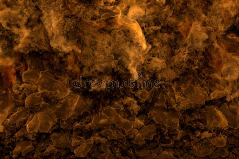 Flammes de partout - mettre le feu à l'illustration 3D des nuages lourds et de la fumée du feu sauvage ardent illustration stock
